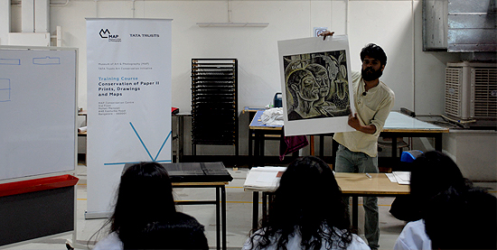 Lecture on different types of prints during the training course on conservation of Paper II (Prints, Drawings and Maps) at the Museum of Art and Photography Conservation Centre, Bangalore
