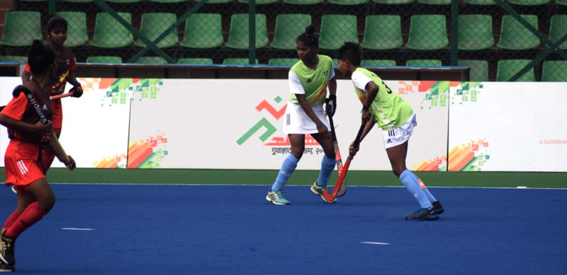 Munmuni in action at the Khelo India Youth Games 2020, Guwahati, Assam