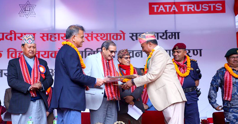 BS Taraporevala, Senior Advisor, Tata Trusts, receiving the handover letter from the Chairman of the Shree Sharada Secondary School Management Committee, in the presence of the Chief District Officer of Sindhupalchowk; Mohan Bahadur Basnet, former Minister for Information and Communications, the Government of Nepal; and Sambhu P Dahal, Director, Sipradi Companies
