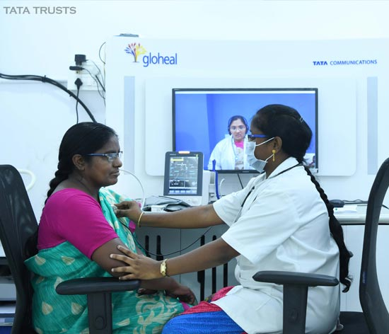 A health check-up being conducted at a telemedicine centre