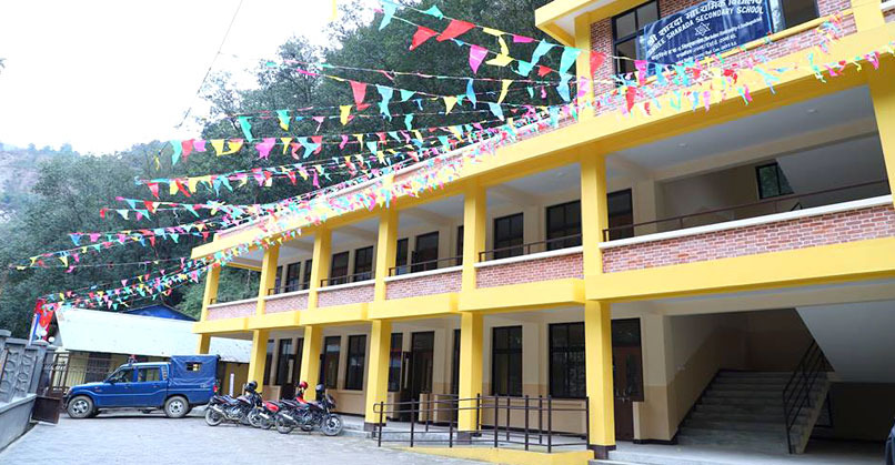 Newly constructed building of Shree Sharada Secondary School, the structure would serve more than 800 students of the school
