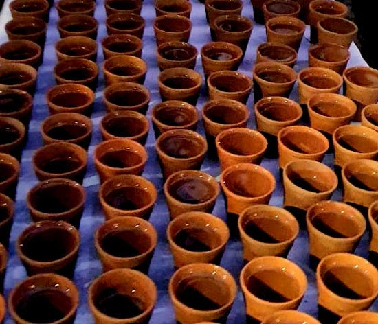 The Centre for Technology and Design uses baked clay glasses to reduce the carbon footprint of the IITB Half Marathon
