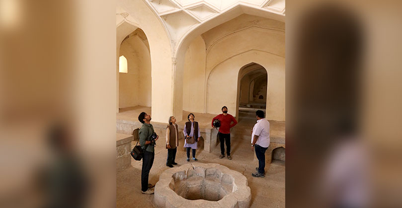 Site walk conducted by Prashant Banerjee, conservation architect, Aga Khan Trust for Culture. Inside the hamam, that has been restored via removal of layers of concrete laid over the original construction.