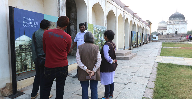Site walk conducted by Prashant Banerjee, conservation architect, Aga Khan Trust for Culture. Explaining the conservation process of the tomb of the first king of the Qutb dynasty — Sultan Quli. The tomb can be seen restored in the far background.