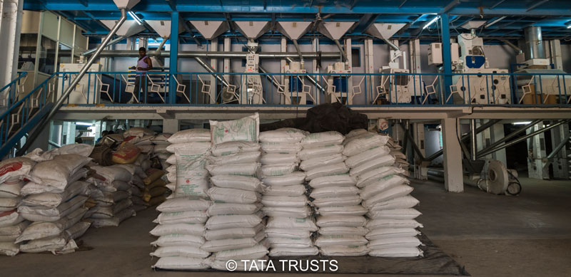 Sacks of fortified rice at a mill in Vijaywada
