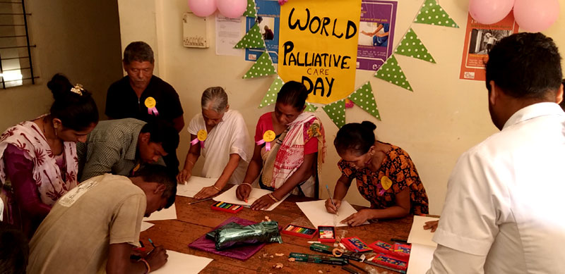 Patients celebrating World Palliative Day, at the Palliative Care Unit