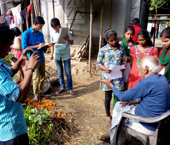Students in Nalbari, Assam conducting survey to collect data on village population for their project on 'My Village'