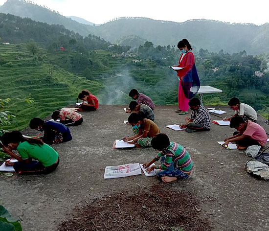 A community classroom in session in Uttarakhand