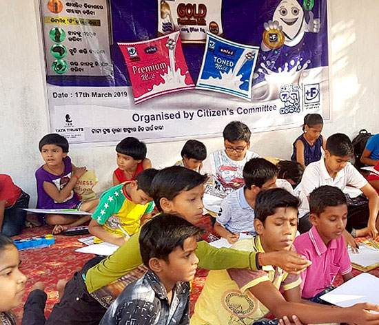A painting competition organised in a school in Odisha to raise awareness on fortified milk