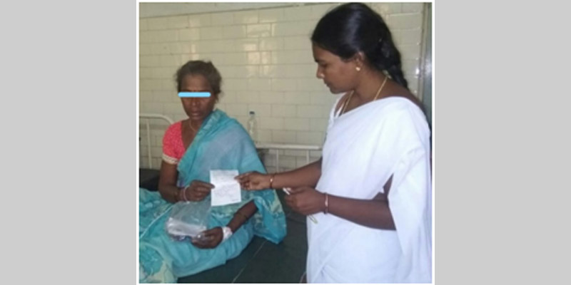ANM Geetha with Ms. Padma after her admission to the health facility