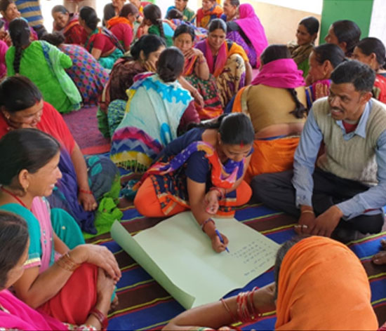 Women from the SHG of Chopdiyal village in a resource-mapping workshop