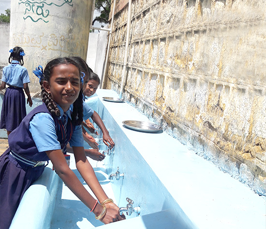 The sanitation infrastructure in schools is promoting good hygiene and healthy habits among students
