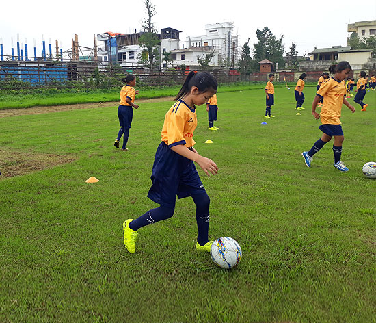 Young girls between the ages of 6 and 14 practise at the grassroots training centre set up by the Ta
